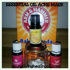 Made our own acne and toning mask. 2 tbsp baking soda, 2 drops of each out and a splash of water. Form a paste. Apply thick, let sit for 10-15 min. Rinse with warm water.