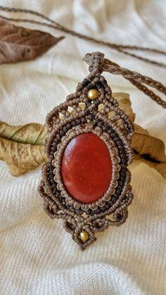 boho necklace macrame necklace red jasper by NarkisMacrame on Etsy