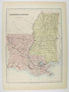 Antique Map Louisiana Original Mitchell DeSilver Louisiana - Louisiana historical map