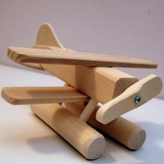 Wooden Sea Plane Toy by Thorpe Toys, Waterloo Ontario Learn Woodworking, Woodworking Projects, Diy Sensory Board, Wooden Plane, Making Wooden Toys, Building For Kids, Kids Wood, Unfinished Wood, Wood Toys