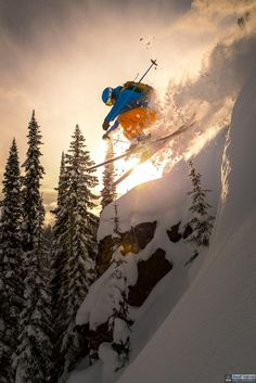 """""""Champagne dreams and caviar wishes. Lifestyles of the powder hungry and almost famous."""" Photo by Geoff Holman. Location: Valhalla Powder cats. Skier: Adam Benson. (Source: @allabouttheskiing on Instagram)"""