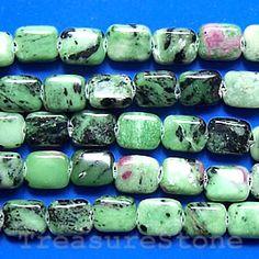 Bead, ruby zoisite, 8x10mm flat rectangle. TreasureStone Beads Edmonton
