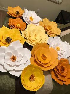 Yellow & White Giant Paper Flower Backdrop