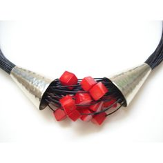 Coral Multi Strand Black Cord Statement Necklace Silver Hammered... ($64) ❤ liked on Polyvore featuring jewelry and necklaces
