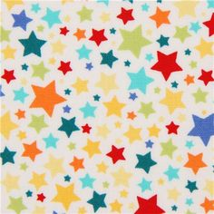 white Michael Miller fabric with many colourful stars