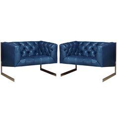 Milo Baughman Chrome Leather Club Chairs for Thayer Coggin ca1960's