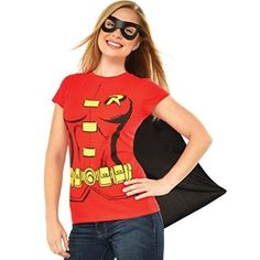 #Christmas Need buy DC Comics Women's Robin T-Shirt With Cape And Eye Mask, Red, Large for Christmas Gifts Idea Promotion . Christmas  is often a gorgeous season, nevertheless let's be honest: It is also stress filled and also technique over-stimulating if you have the trillion adventures the ones to discover. We have insu...