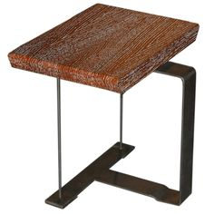Pierre Chareau Wood and Iron Side Table