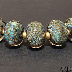Lampwork Glass Beads Set Handmade Round Webbed Terra Beads in Blue & Cream Atlantis Found