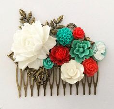 White Wedding Hair Comb Red Bridal Headpiece Turquoise Teal Aqua Collage Flower Floral Leaf Branch Vintage Style Romantic Bohemian