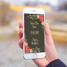 Convite digital celular whatsapp save the date casamento floral.