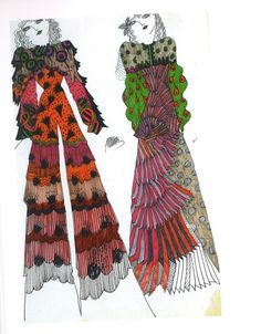 Celia Birtwell, fashion designs and illustration '69-'70