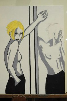 Mirror  50x40  Inspired by a photograph taken by Hemut Newton. The blonde is a character that I've played and I loved that. The contours marked in black are the reality and shaded version by the look Sweetest is the reflection. The mirror shows us what we want to see