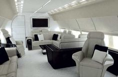 Private jet living room.