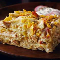 Green Chili Chicken Lasagna - This is not your average lasagna. This lasagna is layers of tangy green enchilada sauce, shredded rotisserie chicken, gooey cheese and crunchy tortilla chip crust! This is the ultimate Mexican lasagna! Chicken Stuffed Peppers, Stuffed Whole Chicken, Stuffed Green Peppers, Best Pasta Recipes, Best Chicken Recipes, Cooking Recipes, Turkey Recipes, Baked Lasagna, Chicken Lasagna