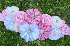 Pink, White and Ivory Flower Maternity Sash, Belly, Band, Belt Sash, Baby,Belly Bump Pregnancy Sash, Twin Sash, It's  A Girl Sash,Photo Prop by SundayChildBoutique on Etsy https://www.etsy.com/listing/520315013/pink-white-and-ivory-flower-maternity