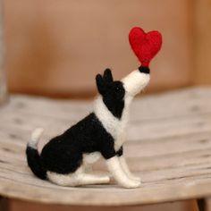 Valentine Border Collie Needle Felted by BossysFeltworks on Etsy I Love Dogs, Puppy Love, Felt Animals, Cute Animals, Border Collie Art, Herding Dogs, Felt Art, Dog Art, Felt Crafts
