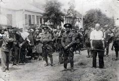 Romanian gendarmes and local collaborators during the deportation of Briceva's Jews to Transnistria. At the head of the convoy of deportees is Rabbi Dov-Berl Yechiel. Bessarabia, Romania, 1941 - pin by Paolo Marzioli Filipino Culture, Jewish History, Ancient History, German People, Military Photos, Second World, History Museum, First Nations, World War Ii
