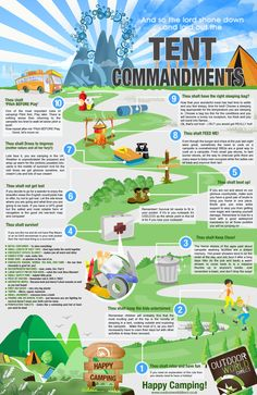 """""""Tent Commandments"""" infographic - 10 great tips for camping."""