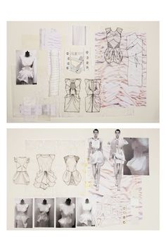 Fashion Sketchbook - fashion design development with sketches + fabric manipulation // Natasha Elliott Sketchbook Layout, Textiles Sketchbook, Sketchbook Inspiration, Sketchbook Ideas, Fashion Sketchbook, Fashion Sketches, Fashion Illustrations, Fashion Design Portfolio, Art Portfolio