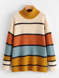 Shop Block Striped Longline Jumper Sweater at ROMWE, discover more fashion styles online. Hipster Shoes, Hipster Outfits, Cute Casual Outfits, Fall Outfits, Cute Fashion, Fashion Outfits, Fasion, Sweaters For Women, T Shirts For Women