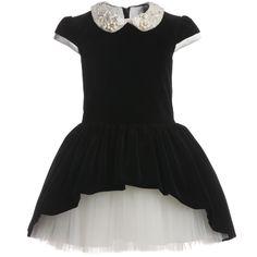 David Charles Black Velvet and Tulle Dress at Childrensalon.com