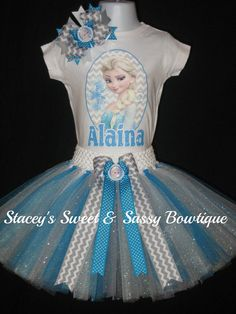 Frozen Elsa Tutu Set by StaceysSNSBowtique on Etsy, $25.00