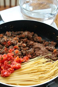 Taco Spaghetti Skillet Dinner Recipe for the family. Easy one pot week night dinner you