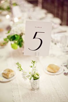 Elegant Wedding Table Numbers