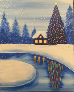 View Paint and Sip Artwork - Pinot's Palette Winter Painting, Winter Art, Christmas Paintings On Canvas, Wine And Canvas, Paint And Sip, Learn To Paint, Pictures To Paint, Art Plastique, Christmas Art
