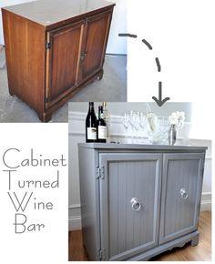 cabinet turned wine bar, tutorial here www.centsationalgirl.com/2011/05/thrifting-101/