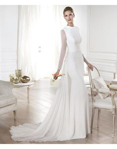 Court Train Chic & Modern Sashes/Ribbons Wedding Dresses 2014