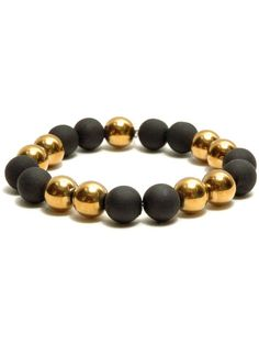 Classic beaded bracelet with golden glass and rubber beads