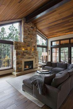 60 Favourite Log Cabin Homes Fireplace Design Ideas - Home/Decor/Diy/Design Home Fireplace, Fireplace Design, Wall Fireplaces, Stone Fireplaces, Fireplace Ideas, Modern Fireplaces, Farmhouse Fireplace, Design Living Room, Living Rooms