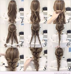 Braid hairstyle tutorial, braids for long hair. Braided hairstyle for women