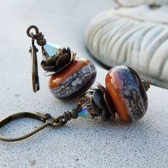 Gothic red & orange lampwork earrings. $25.50 #accessories #earrings #lampwork