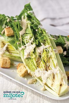 Salade César grillée #recette 200 Calories, Barbecue, Green Lettuce, Cooking Instructions, Caesar Salad, Vegetable Sides, Home Recipes, What To Cook, Original Recipe