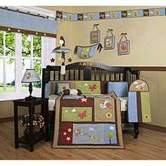 @Overstock - Dress up and decorate your baby's room with this beautiful 13-piece crib bedding set. This set includes a quilt, two valances, skirt, crib sheet, bumper, diaper stacker, toy bag, two pillows and three wall hangings.http://www.overstock.com/Baby/Airplane-Aviator-13-piece-Crib-Bedding-Set/5235507/product.html?CID=214117 $114.49