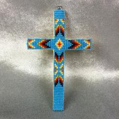 Beaded Cross Necklace Pendant Turquoise Blue