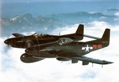 North American F-82 Twin Mustang, America's last piston-powered fighter plane to be ordered into production. Effectively two P-51 Mustang fighters joined by a single wing and horizontal stabilizer, which arrived too late to serve in the long-range escort role it was indented for during WWII, nevertheless it continued to see service as an all-weather, day/night interceptors with the use of the AN/APG-28 (F model) and SCR-720C18 (G model) ventral-mounted radars.