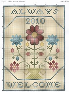 always welcome free cross stitch (.center motif is about thing is more) Cross Stitch Freebies, Cross Stitch Samplers, Cross Stitch Charts, Cross Stitch Designs, Cross Stitching, Cross Stitch Embroidery, Cross Stitch Patterns, Quilt Patterns, Hand Embroidery Patterns
