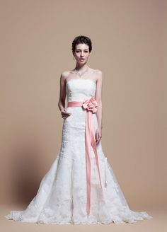 Strapless Trumpet Dress with Lace Appliques and Colored Belt
