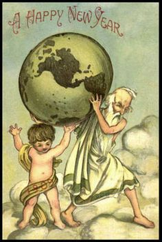father time and baby 1906 new year wishes new year greetings new year card