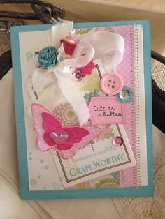 Baby Shower-Congrats-Sewing- Vintage Button Style- Pink-Cute as a Button-Girly-Card on Etsy, $5.50