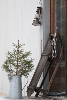 Antique sled, lantern and christmas tree.