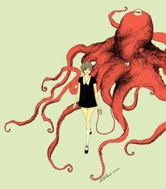 girl walking octopus by somefield.deviantart.com on @deviantART