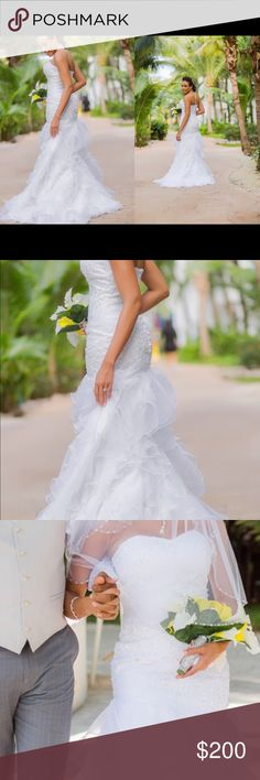Strapless mermaid wedding dress Worn for short time. Beautiful white strapless mermaid style wedding dress Dresses Wedding