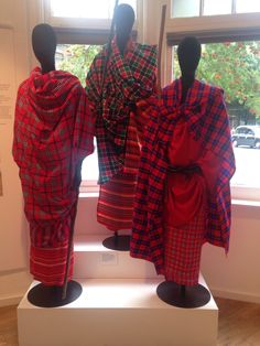 Maasai warriors at the must see exhibition: Tartan- Its Journey Through the African Diaspora - ends 30th August! @CIADuk