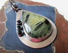 Epidote in Prehnite Pendant in Sterling Silver by TheRedPoppyShop, $169.00