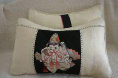 Asian Boy needlepoint ... close up of lumbar pillow.